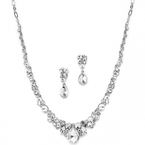 Mariell Regal Crystal Bridal Or Prom Necklace & Earrings Set