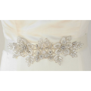 Mariell Breathtaking Handmade Bridal Sash with European Crystal Beaded Applique