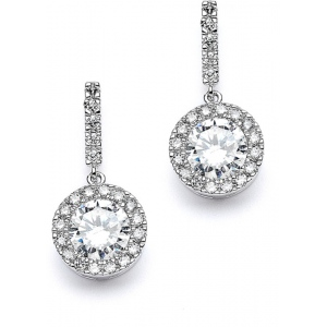 Mariell Top Selling Pave Wedding Or Bridesmaids Earrings with Brilliant CZ Drop
