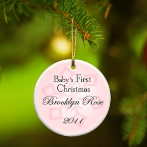 JDS Personalized Baby Girl's First Christmas Ornament