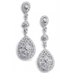 Mariell Vintage Etched Cubic Zirconia Dangle Bridal Earrings