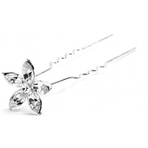 Mariell Crystal Marquis flower Wedding Or Prom Hair Stick Pin