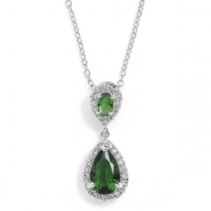 Mariell Top-Selling Emerald Cubic Zirconia Teardrop Wedding Or Bridesmaids Pendant