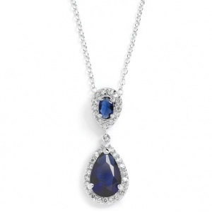 Mariell Top-Selling Sapphire Cubic Zirconia Teardrop Wedding Pendant