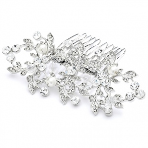 Mariell Antique Bridal Or Wedding Hair Comb with Crystals and Pearls