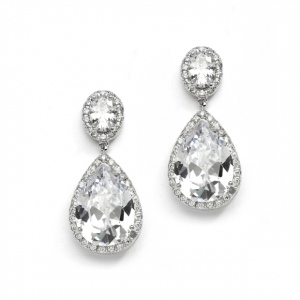Mariell Couture Cubic Zirconia Pear-Shaped Bridal Earrings: Pierced Or Clip