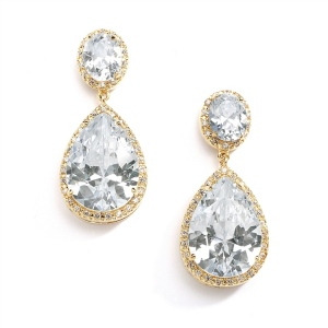 Mariell Best-Selling Gold CZ Pear-Shaped Drop Bridal Earrings