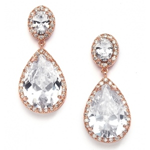 Mariell Best-Selling Cubic Zirconia Rose Gold Pear-Shaped Bridal Earrings