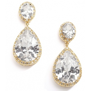 Mariell Best-Selling Cubic Zirconia 14K Gold Plated Pear-Shaped Bridal Earrings with Clip Back
