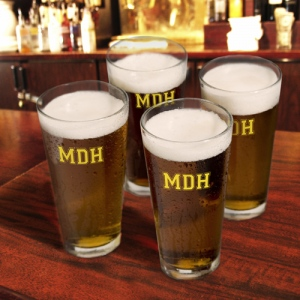 JDS Personalized Collegiate Icon Pint Glasses: Set of 4