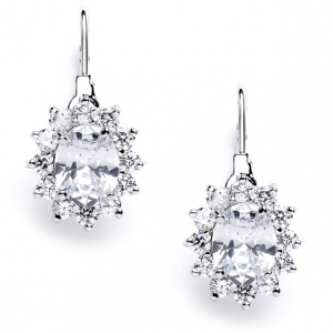 Mariell Vintage Oval Solitaire Cubic Zirconia Earrings with Lever Backs