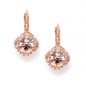 Mariell Tailored Earrings in Rose Gold for Wedding or Prom