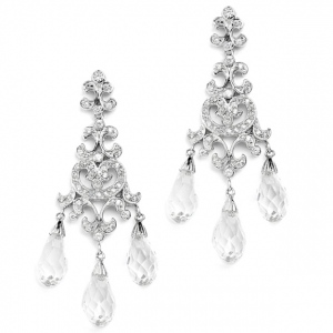 Mariell Crystal Teardrop Vintage Chandelier Earrings for Weddings, Proms Or Bridesmaid