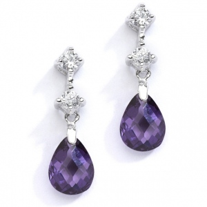 Mariell CZ Bridal Or Bridesmaids Earrings with Amethyst Crystal Drops