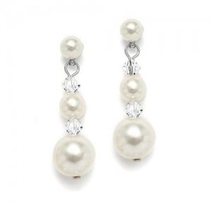 Mariell Graduated Pearl & Crystal Bridal Earrings