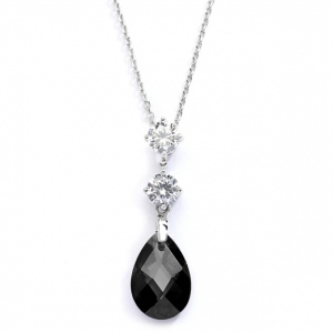 Mariell CZ Bridal Or Bridesmaids Necklace Pendant with Jet Black Crystal Drop