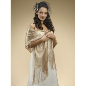 Mariell Metallic Weave Wrap for Weddings Or Proms: Champagne/Gold