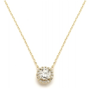 Mariell Delicate Cubic Zirconia Gold Pave Bridal Necklace
