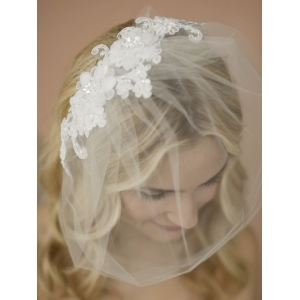Mariell Double Flower White Lace Applique On Handmade Tulle Birdcage Blusher Veil