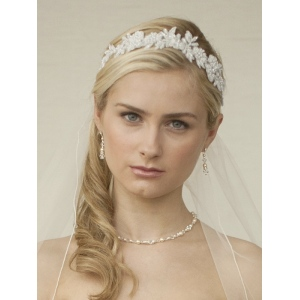 Mariell White Lace Applique Garden Wedding Headband with Meticulous Edging