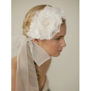 Mariell Handmade Ivory Silk Flower Bridal Headband with Wide Sheer Ribbon