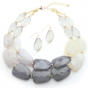 Mariell Pewter Tones Chunky Statement Necklace & Earrings for Prom Or Bridesmaids