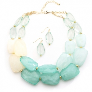 Mariell Mint Pastels Chunky Statement Necklace & Earrings for Prom Or Bridesmaids