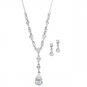 Mariell Delicate CZ Pears Wedding Necklace Set