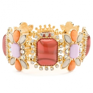 Mariell Gorgeous Crystal, Coral & Opaque Pastel Stretch Bracelet