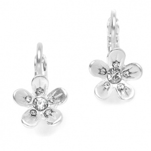 Mariell Matte Silver Flower Prom Or Bridesmaids Earrings