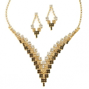 "Mariell Brown Ombre Rhinestone ""V"" Necklace & Earrings Set"