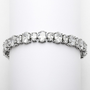 Mariell Spectacular Multi Ovals Silver Rhodium Cubic Zirconia Wedding Or Pageant Bracelet