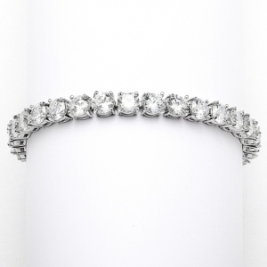 Mariell Glamorous Silver Rhodium Bridal Or Prom Tennis Bracelet in Petite Size