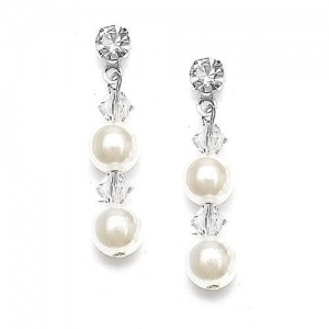 Mariell Pearl & Crystal Dangle Wedding Earrings