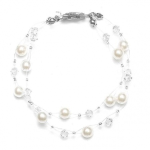 Mariell 2-Row Pearl & Crystal Bridal Illusion Bracelet: Honey