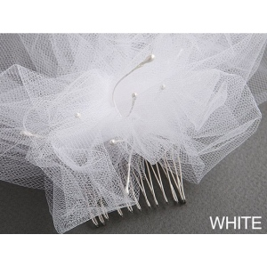 Mariell Tulle Birdcage Veil Bridal Cap with Side Pouf & Stamen Accents: White