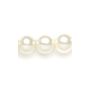Mariell Alternating Pearl and Rondelle Wedding Necklace: Ivory/Clear