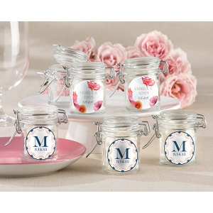 Personalized Glass Favor Jars, Botanical: Set of 12