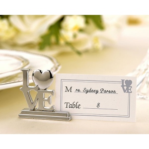LOVE, Place Card Holder, Photo Holder with Matching Place Cards: Set of 4