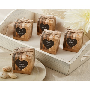 Hearts in Love, Rustic Favor Box: Set of 24