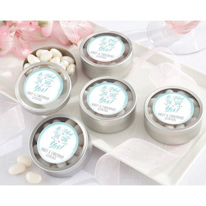 Personalized Silver Round Candy Tin, He Asked, She Said Yes: Set of 12
