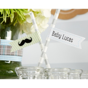 Personalized Party Straw Flags-Kate's, Little Man, Collection