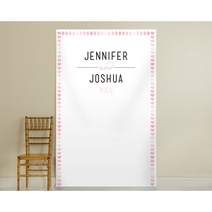 Personalized Pink Watercolor Photo Backdrop: Hearts