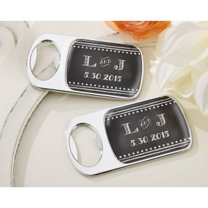 Personalized Silver Bottle Opener with Epoxy Dome: Chalk