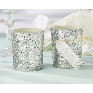 Sparkle and Shine, Silver Glitter Votive: Set of 4