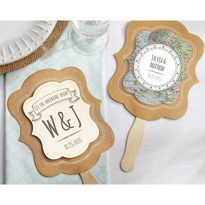 Personalized Kraft Fan, Travel and Adventure: Set of 12