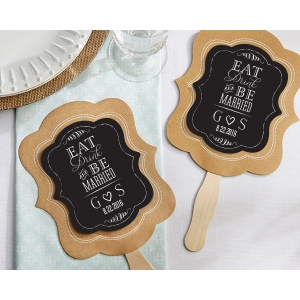 Personalized Kraft Fan, Eat, Drink & Be Married: Set of 12