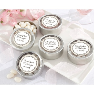 Personalized Silver Round Candy Tin, The Hunt Is Over: Set of 12