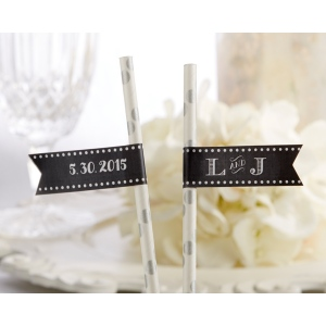 Personalized Party Straw Flags: Classic