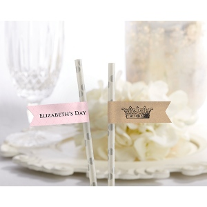 Personalized Party Straw Flags: Little Princess